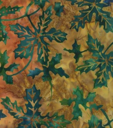 41014-47 Green Leaves on Tan Over the Rainbow Margarita Laundry Basket Batiks Moda