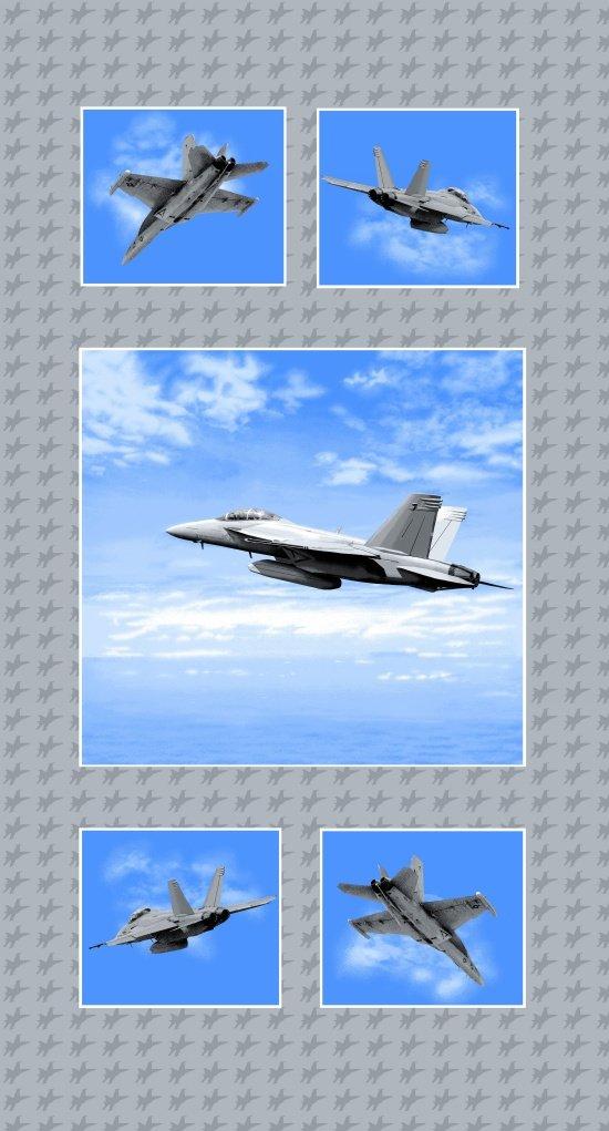 4281P-11 Blue Fighter Jet 24 inch Panel Air Show StudioE