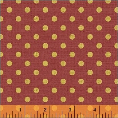 43389M-4 Persimmon Dots Bookshelf Botanicals Metallic Windham Fabrics