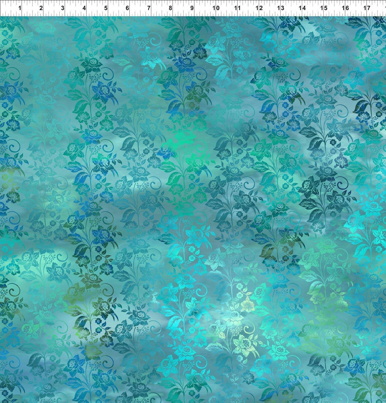 5ENC-3 Teal Mist Enchanted Vines Diaphanous