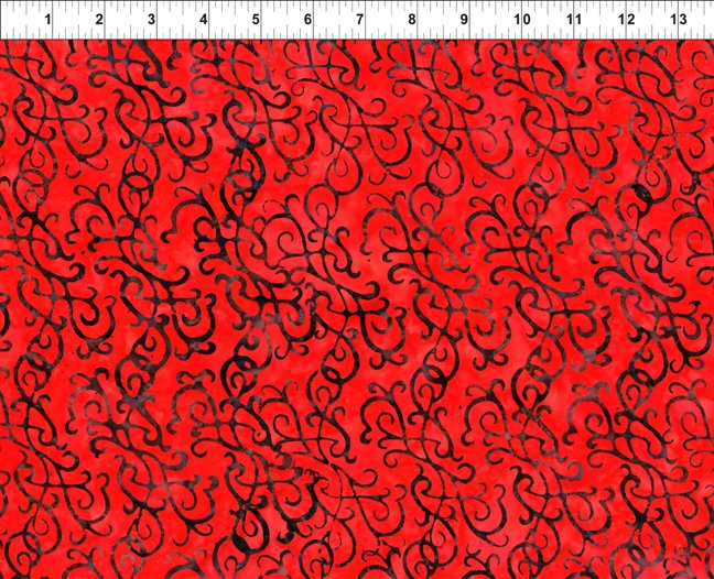 5GBC2-Red Flourish - Floragraphix Batik 3 by In the Beginning