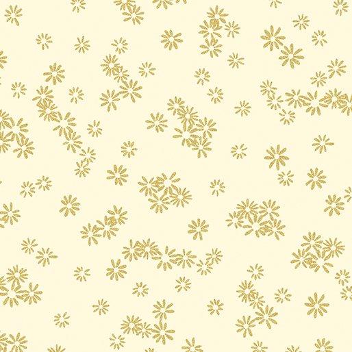 7719M-07 Cream Flowers Gold Metallic Mixers