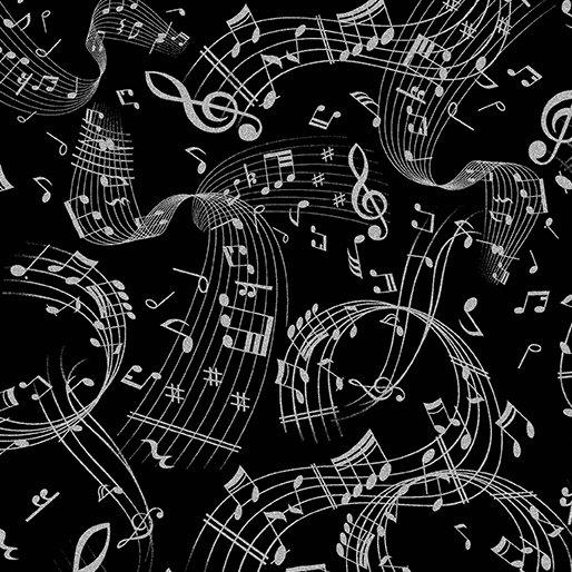 7729M-12 Black Silver Music Scroll Metallic Mixers