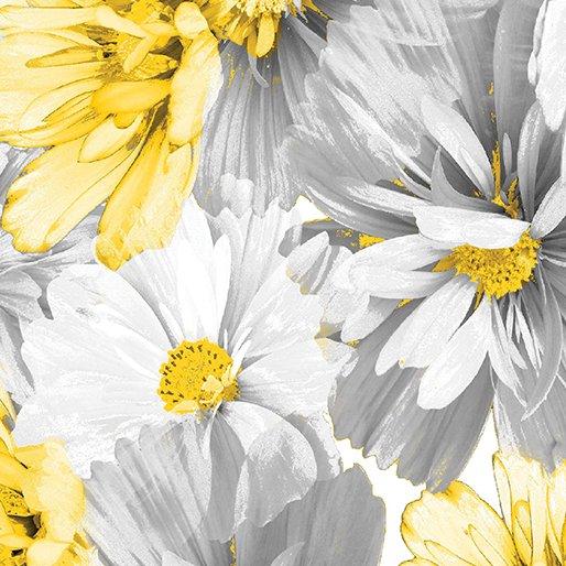 7736P-11 Dove Gray Blossoms Limoncello
