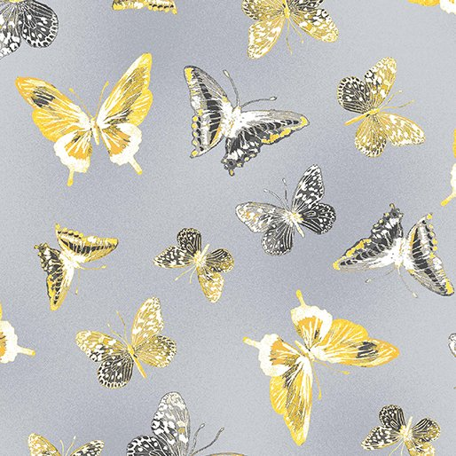 7737P-11 Gray Butterflies Limoncello
