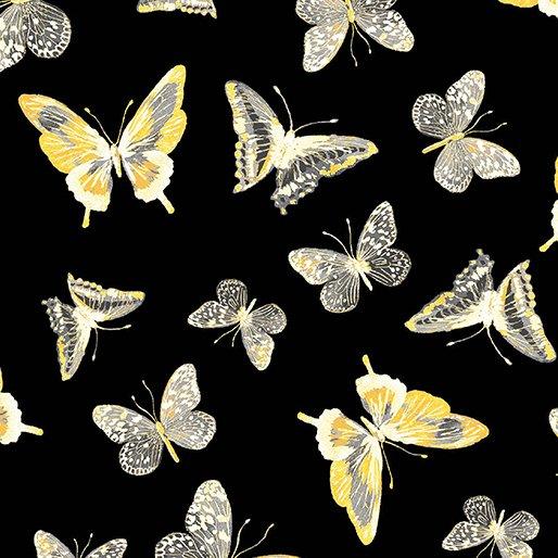7737P-12 Black Butterflies Limoncello