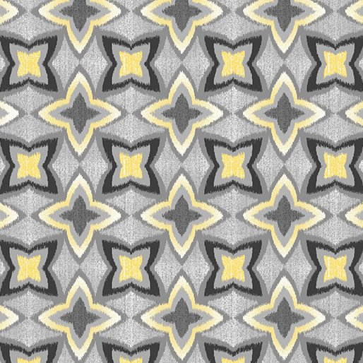 7743P-11 Gray Pearl Flower IKAT Limoncello