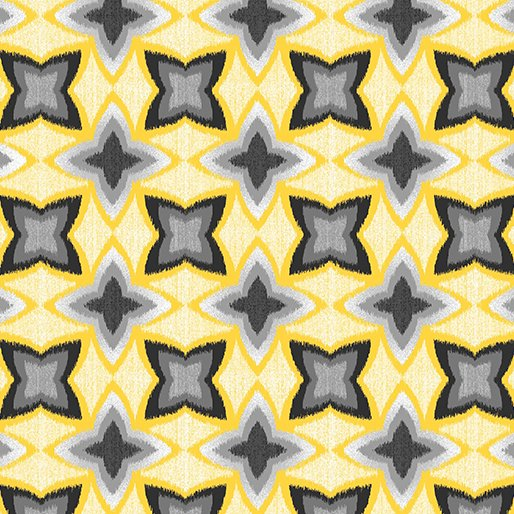 7743P-33 Yellow Pearl Flower IKAT Limoncello