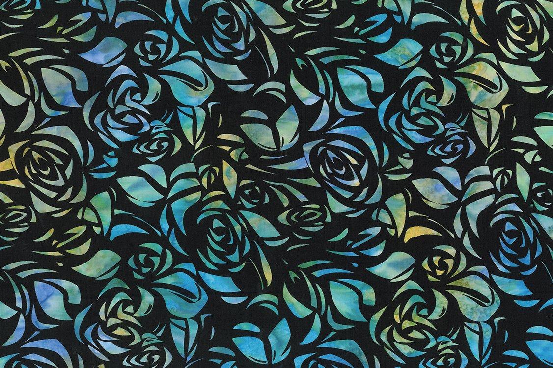 80440-62 Ocean Blues Floral Sandy Shoreline Cubism by Banyan Batiks