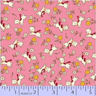 8079-0326 Pink Running Puppies Aunt Grace Basket of Scraps