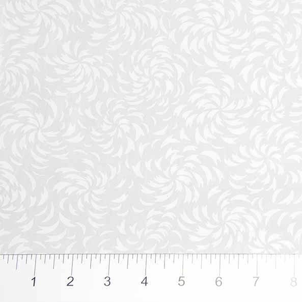 81201-10 Swirl Leaves White on White Banyan Batik