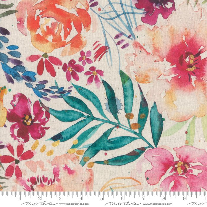 8430 11LD Linen White Lg Floral Brightly Blooming Create Joy Project