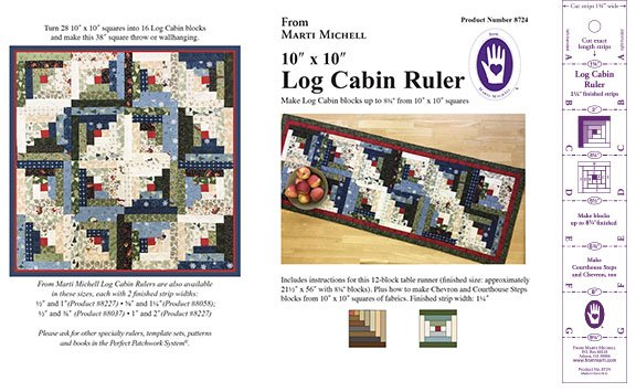 8724-10x10-Log Cabin Ruler From Marti Michell