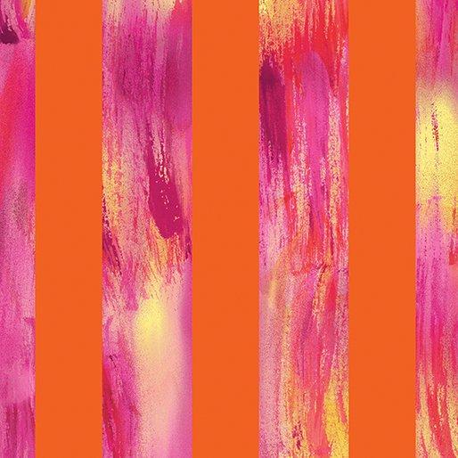 8743-28 Orange Watercolor Stripe Sun Burst