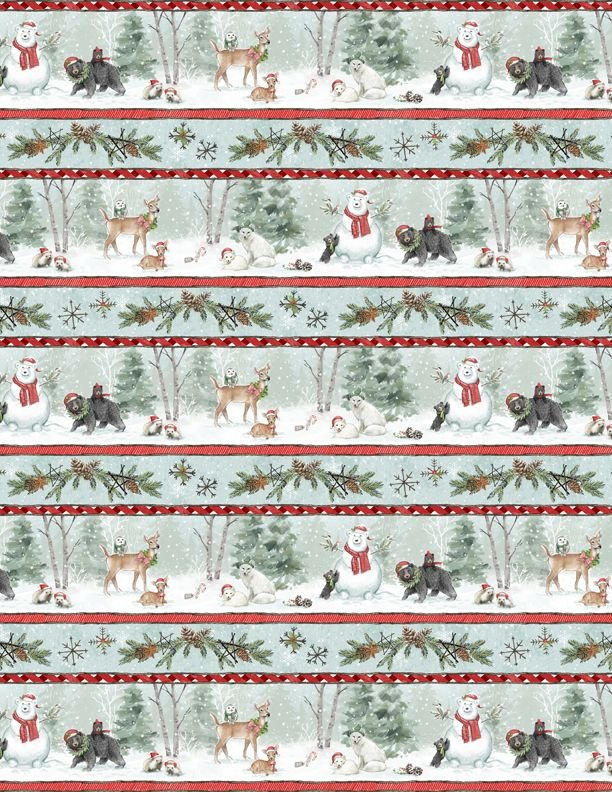 96444-431 Multi Repeating Stripe Woodland Friends