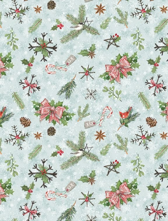 96448-472 Teal Pinecones & Branches Woodland Friends