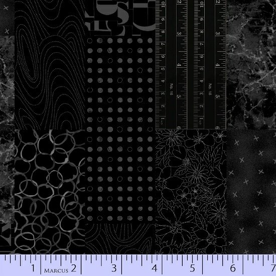 9830-0112 Black Fade Out Collage Fabric by Laura Berringer for Marcus Fabrics