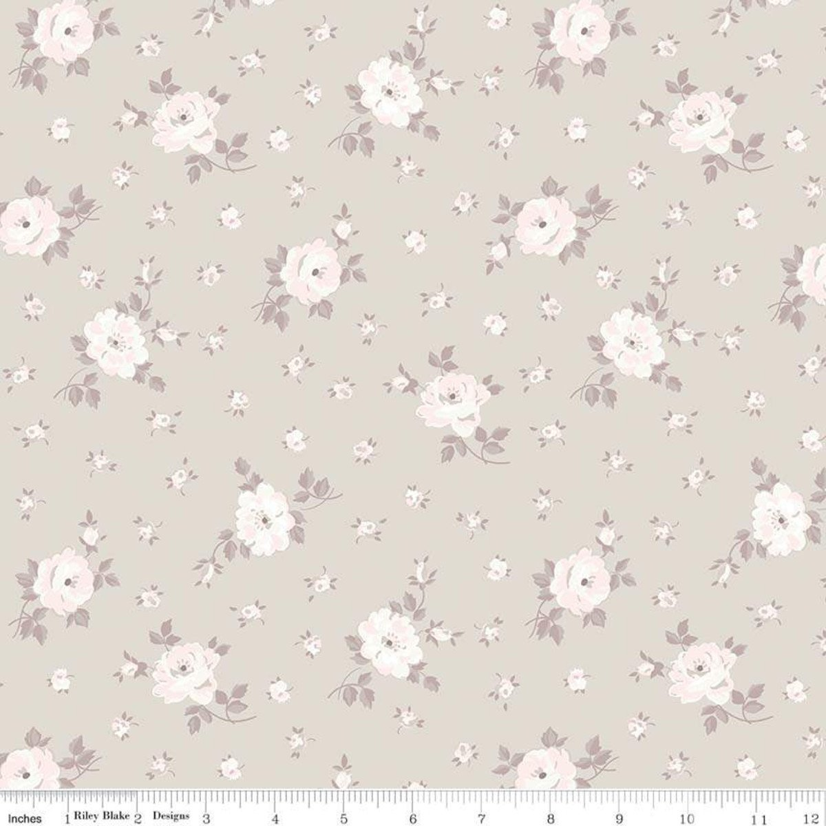 C7685-TAUPE_Floral Toss Rose Garden