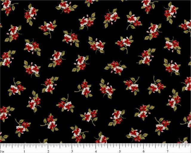 CD-10172-011 Sm Red Floral on Black Victoria Terrace