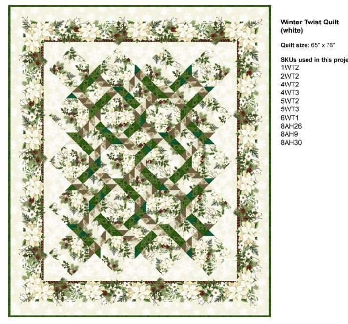 Cream Winter Twist Quilt Kit 64 by 75 Jason Yenter In the Beginning
