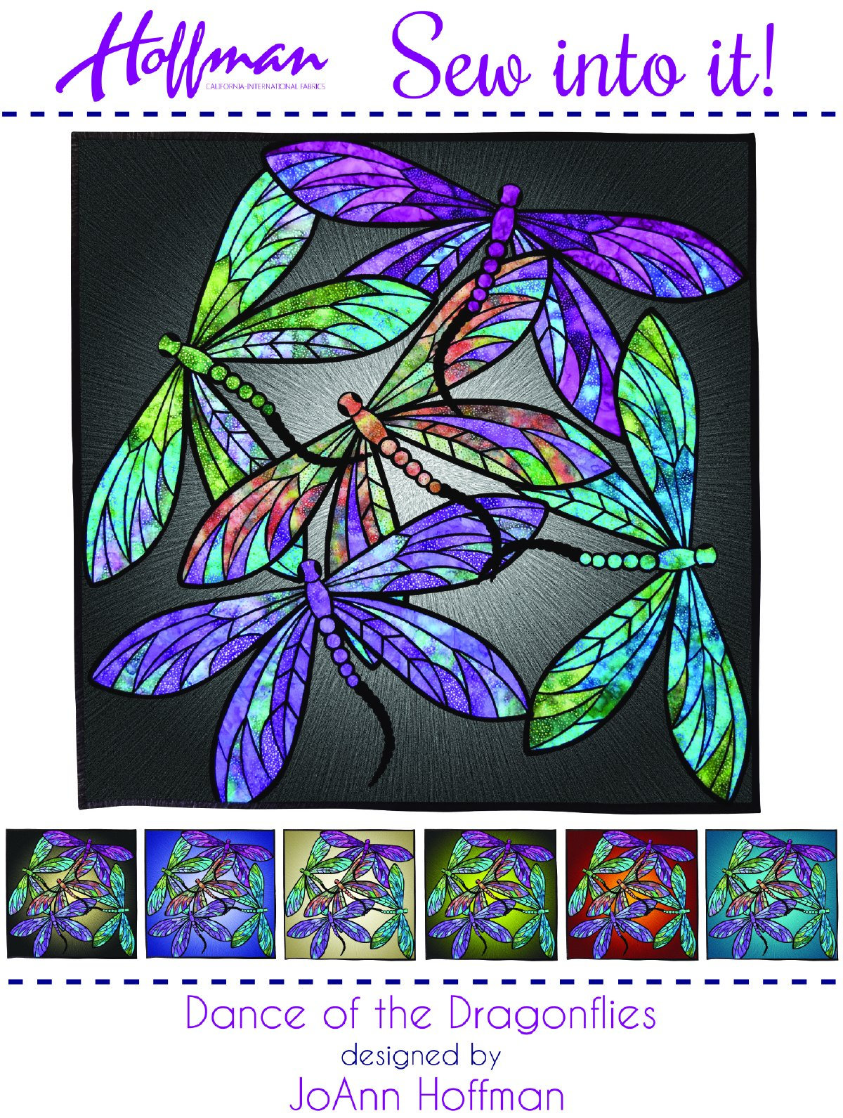 Dance of the Dragonflies Stained Glass Sew into it Kit by JoAnn Hoffman