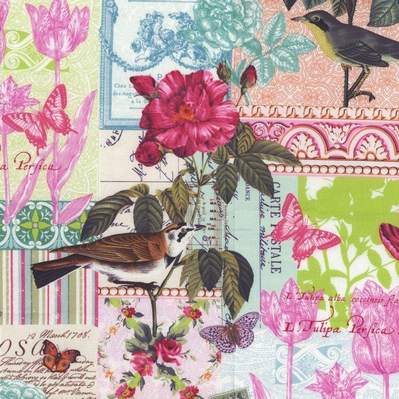 dc4783_pink_Belle Rose Floral w_Birds