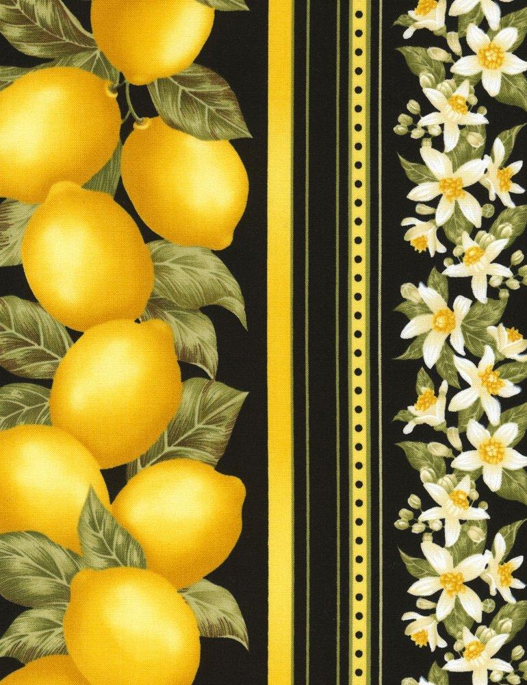 Fruit-C4858-Black Lemon 11 inch Border Fruits & Veggies Timeless Treasures