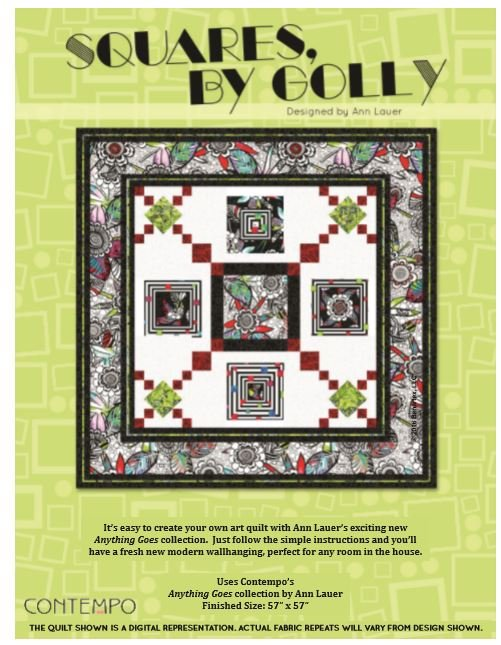 Squares by Golly Quilt Kit featuring Anything Goes Fabrics by Benartex