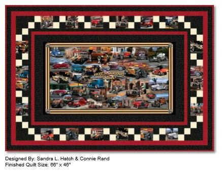 Hot Rods Artworks Quilt Kit Featuring Hot Rodding USA panel by Quilting Treasures