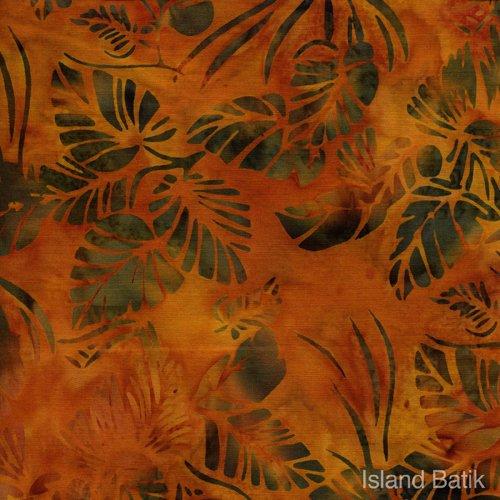 IB108-D2 IslandBatik TuscanSun gold bkgd w_green leaves