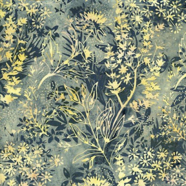 IS14H-Y1-Island Batik Earl Grey cream floral on grey florals