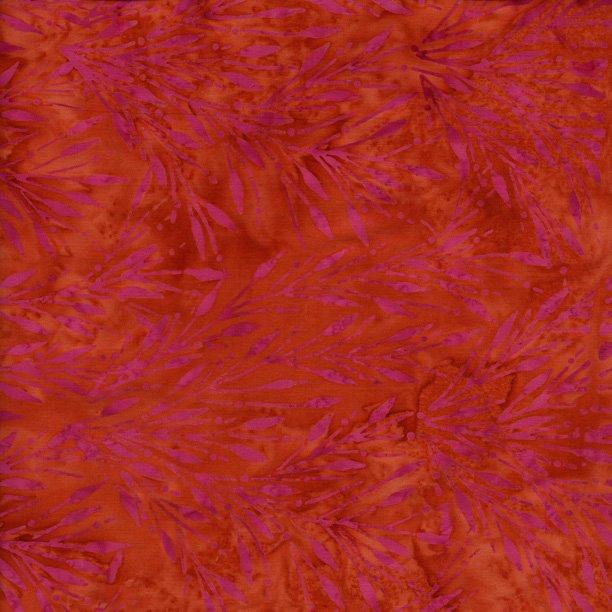 IS14R-V1-Island Batik Buttermilk Orange with Pink floral