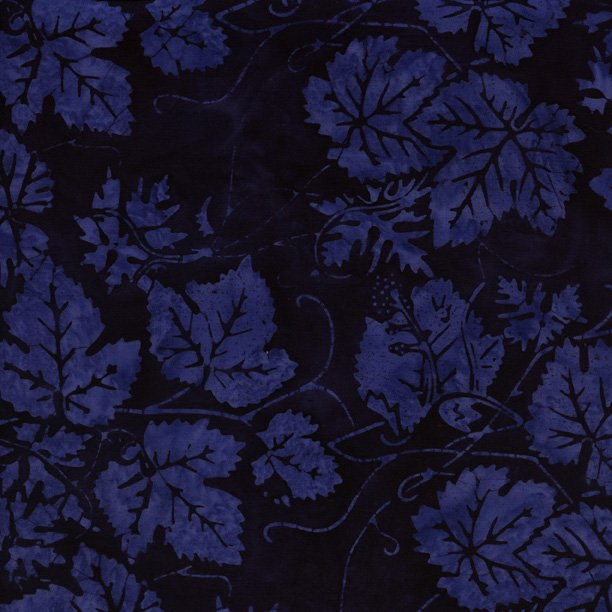 IS14T-HH1-Island Batik Sparkling Water Navy with Royal leaves