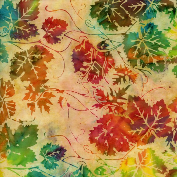 IS14T-V1-Island Batik Buttermilk with rich colored leaves