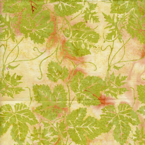 IS14T-W1 Island Batik Key Lime leaves on cream