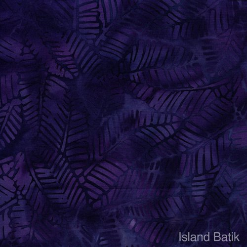KI07-B1 Island Batik Sunset Walk dark bkgd purple leaves