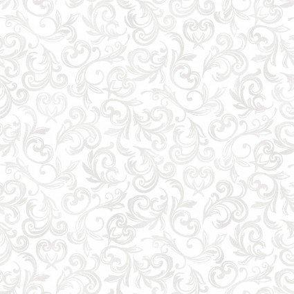 MAS114-W White Scroll Pearl Essence Tone on Tone