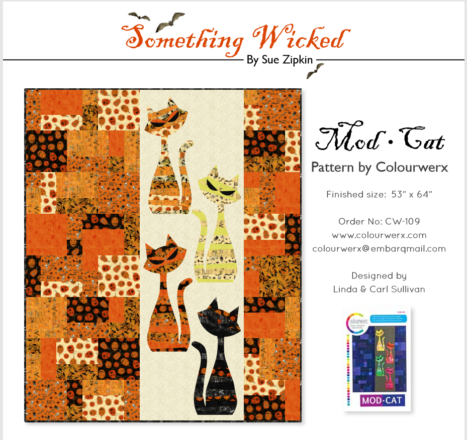 Mod Cat Something Wicked Quilt Kit by Sue Zipkin for Clothworks