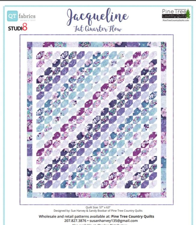 PT1650 Jacqueline Fat Quarter Flow Pattern by Sue Harvey_Sandy Boobar 57 X 63 inches