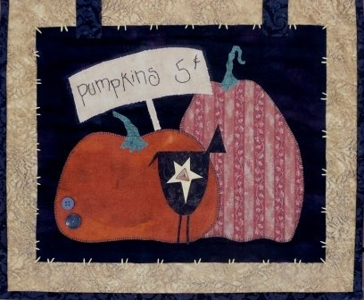Pumpkin Patch 17 X 15 inch wall hanging by Pumpkin Berries Stitchery