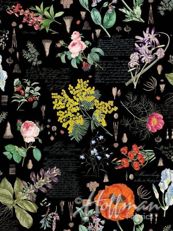 3 yd Q4443-4-Black-Floral No Weeds Here Digital Hoffman Fabrics