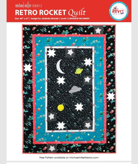 Retro Rocket Quilt 40 X 56 by Marinda Stewart