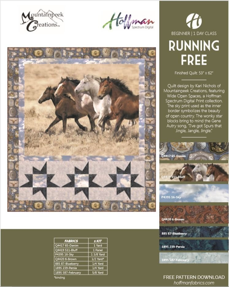 Running Free Quilt Kit featuring Wide Open Spaces by Hoffman