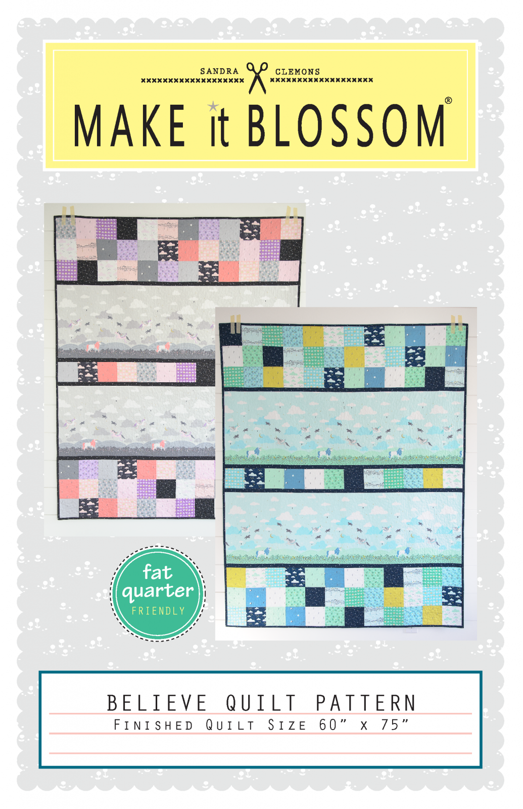 Believe Gray/Pink Quilt Kit by Sandra Clemons 60 X 75