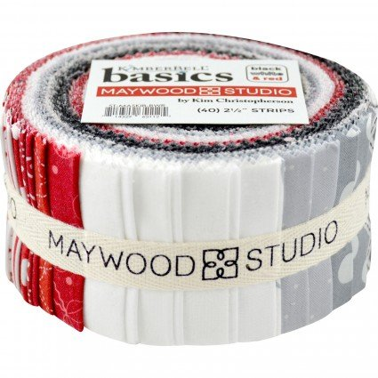 ST-MASKIB-Black White Red KimberBell Basics 2.5 inch Strips 40