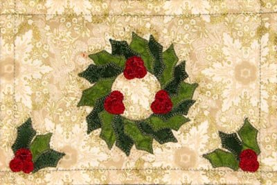 Traditional Christmas Wreath Mug Rug Laser cut kit