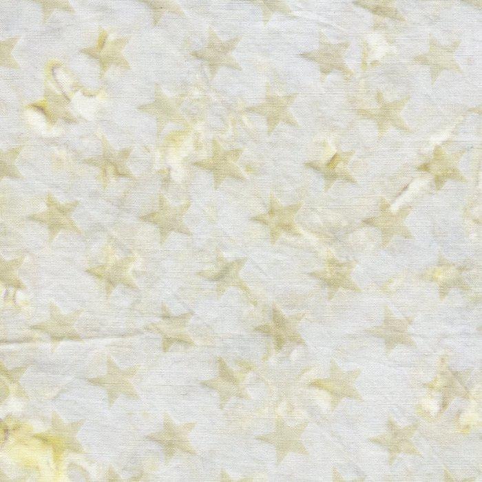 US02-3 IslandBatik QuiltedinHonor Gold stars on Gray