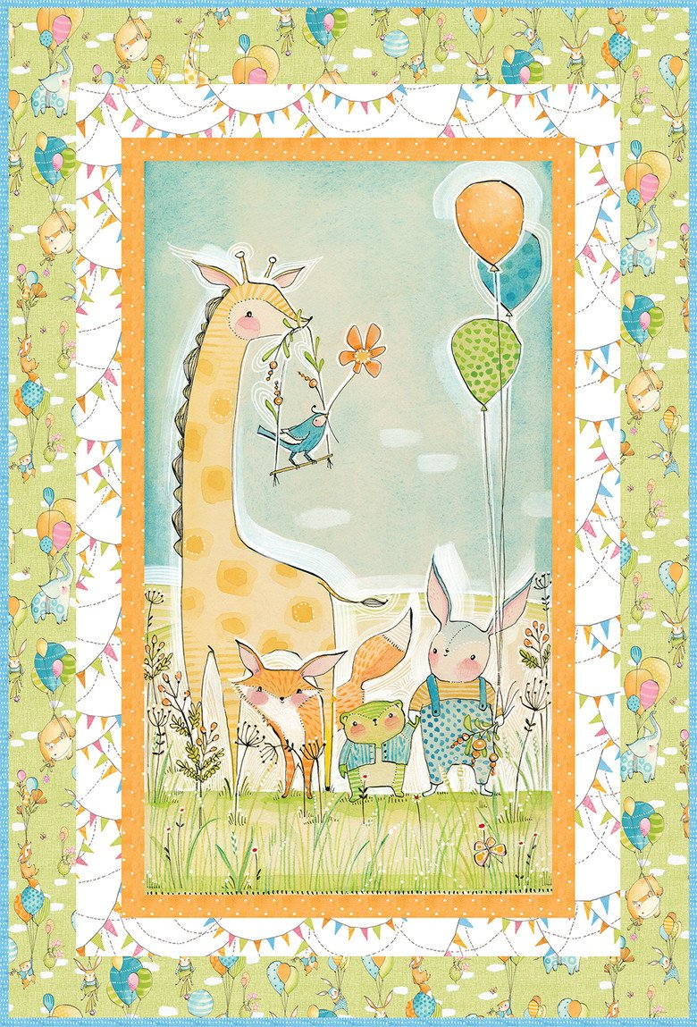 New Pink Wee Pals Kit Hello World 35 by 44 inches Cori Dantini