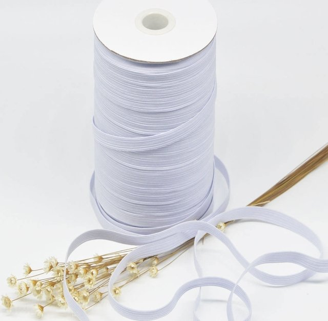 White 1/4 in wide braided elastic by the yard