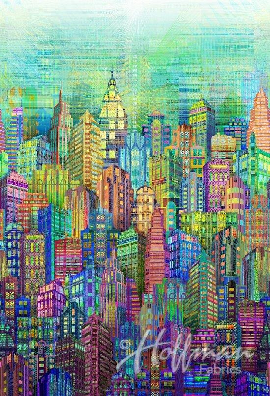 WN4234-130-Multi Skylines Hoffman Spectrum Digital Print